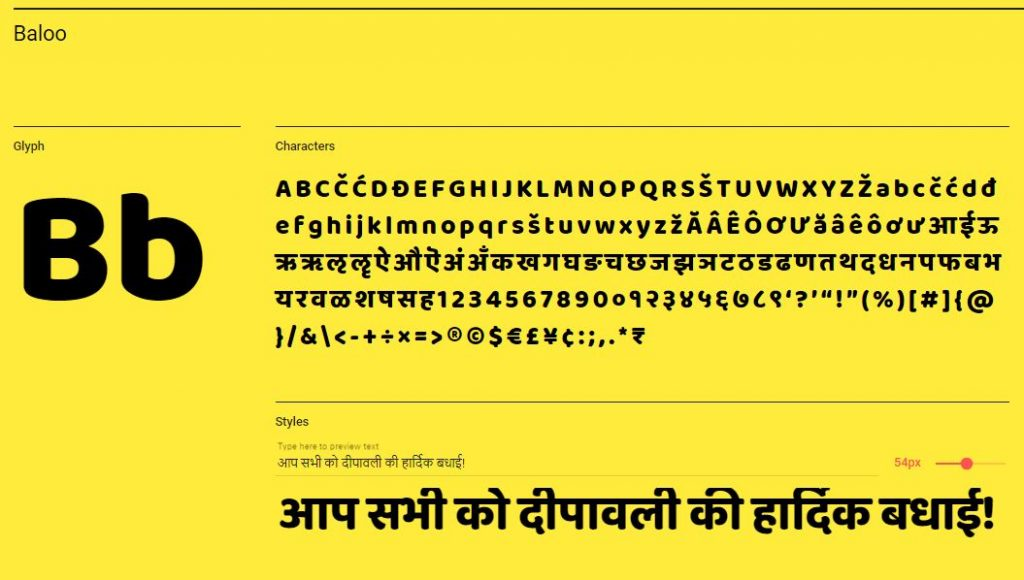 Google Hindi Baloo Font